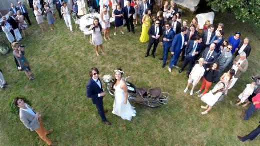 Vue aerienne mariage photographier d un drone