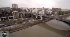 Vue aérienne par drone du pont de Levallois Perret