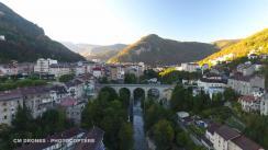 Vue du ciel de la ville de saint claude Entreprises de drone en Bourgogne-Franche-Comté