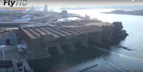 Vues aériennes par drone d une base sous marine